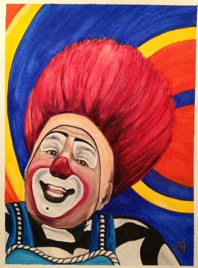 Watercolor Clown #17 Mark Carfora 9 X 12 on Canson 140 lb Cold pressed paper Original Pending Sale