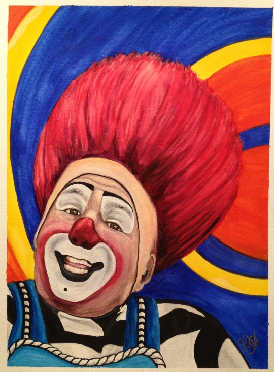 Watercolor Clown #17 Mark Carfora 9 X 12 on Canson 140 lb Cold pressed paper Original Pending Sale