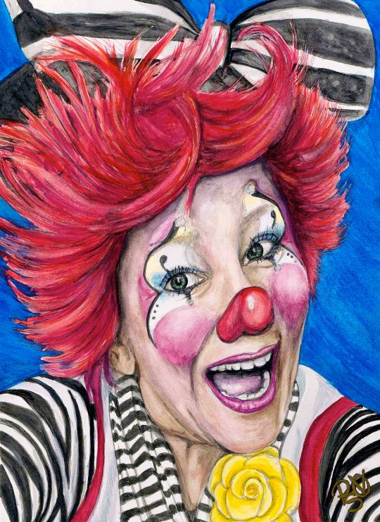 Watercolor Clown #24 Kelly Lynn Diehl AKA Firekracker Kelly 9 X 12 on Canson 140 lb Cold Press paper Original SOLD Prints Available