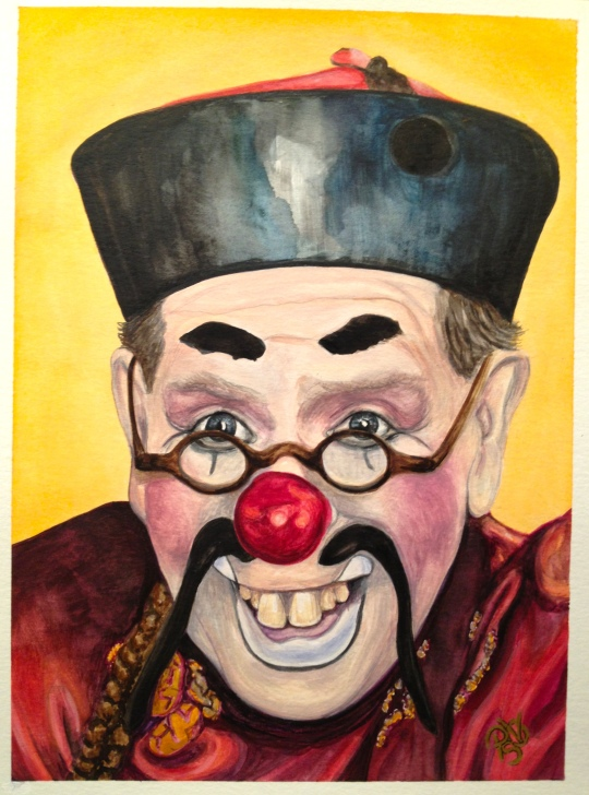 Watercolor Clown #15 Bill Gillespie AKA Be -Real – Son 9 X 12 on Canson 140 lb Cold pressed paper Original SOLD