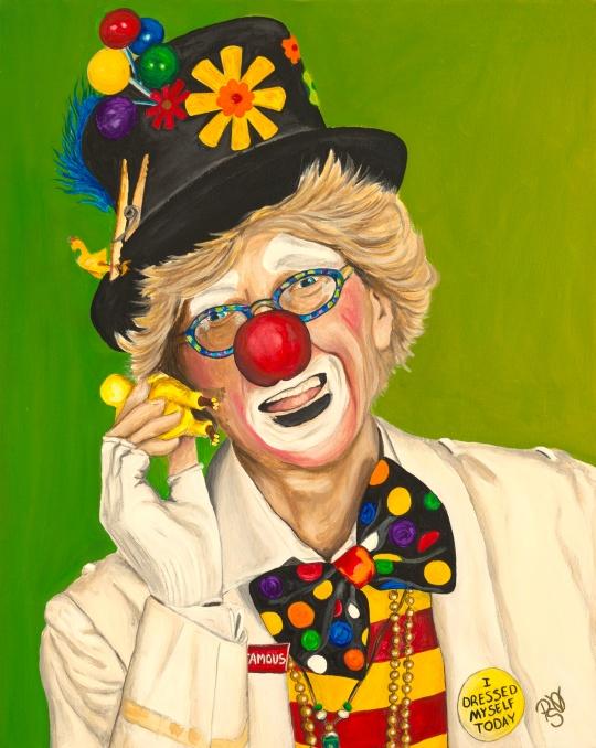 Careful The Clown Acrylic on Canvas 16 X 20  Original For Sale $420.00