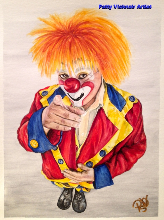 Watercolor Clown #19 Misael Hernandez AKA Choo Choo  9 X 12 on Canson 140 Lb Cold Press Paper Original Sale Pending