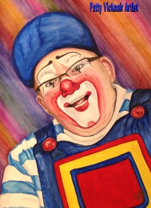 Watercolor Clown #20 Lee Andrews AKA Lew-E 9 X 12 on Canson 140 Lb Cold Press Paper Original SOLD