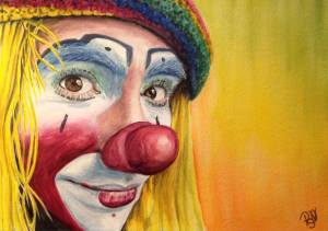Watercolor Clown #22 Daniel Flores AKA Pedalito 9 X 12 on Canson 140 lb Cold Press paper Original Sold Prints available