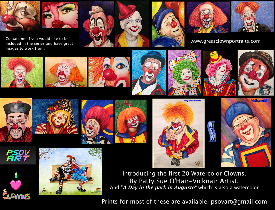 watercolor clown 3 lou jacobs the art of patty sue o u0027hair