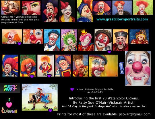 Follow me on Facebook to watch each clown being created.