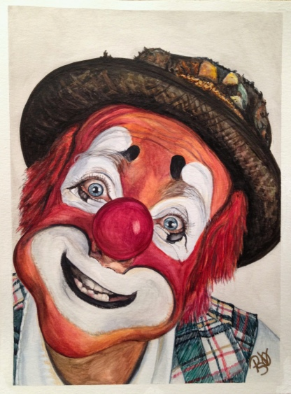 "Watercolor Clown #14 Jonathan ""Mitch"" Freddes 9 X 12 on Canson 140 lb Cold pressed paper Original Sale Pending"