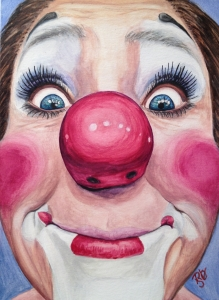 Watercolor Clown #23 Kerry Ringness AKA Oopsie Daisie The Clown Original SOLD Prints Available