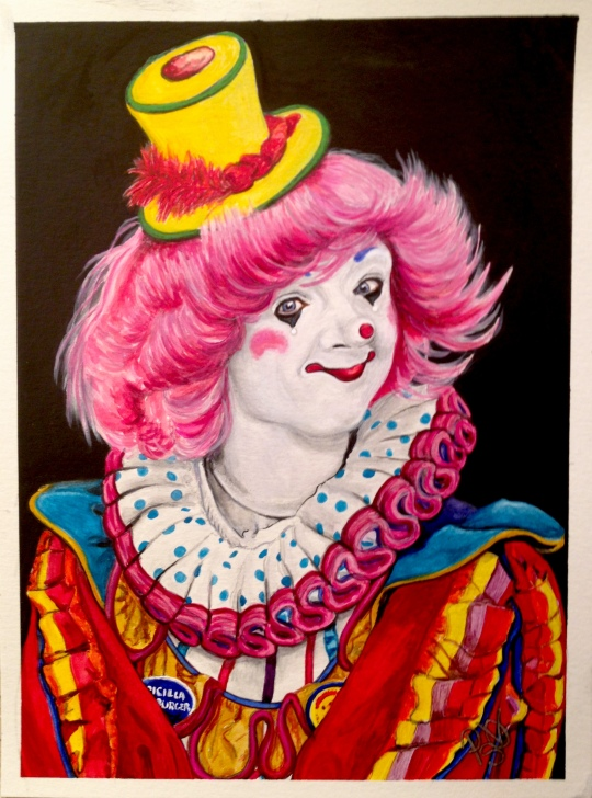Watercolor Clown #13 Pricilla Mooseburger, a.k.a. Tricia Manuel  9 X 12 on Canson 140 lb Cold Press paper.   Original Pending Sale