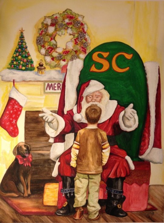 Private Discussion  2013 Santa Painting by Patty Sue O'Hair Vicknair Watercolor 18 X 24  Canson 140 lb Watercolor Paper FOR SALE $350.00 + shipping