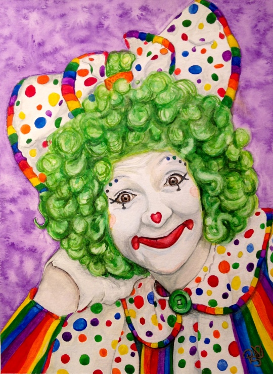 "Watercolor Clown #12 Sue Marranconi AKA ""Squeeze""  9 X12 on Canson Watercolor 140 lb paper Original SOLD"