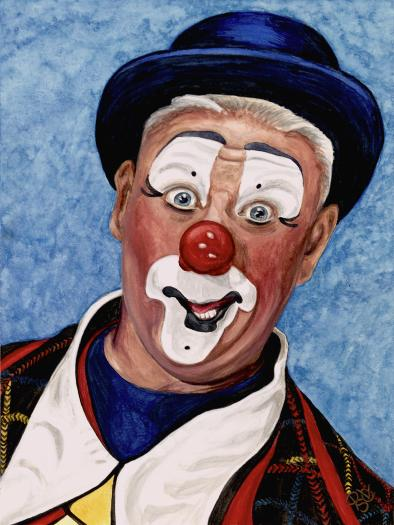 "Watercolor Clown #11 Jeffrey Potts AKA ""Bungles TheClown"" 9 X 12 on Canson Watercolor 140 lb paper Original SOLD"