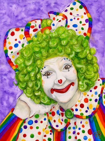 """Watercolor Clown #12 Sue Marranconi AKA """"Squeeze"""" 9 X12 on Canson Watercolor 140 lb paper Original SOLD"""