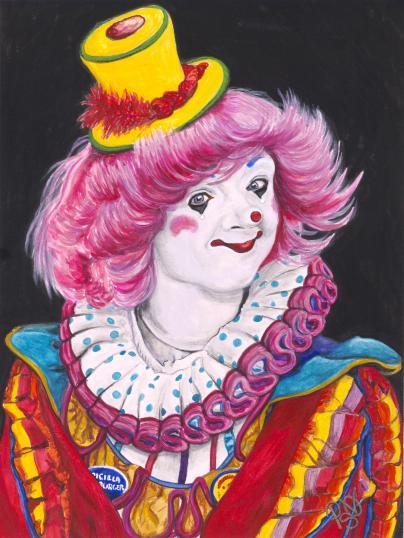 Watercolor Clown #13 Pricilla Mooseburger, a.k.a. Tricia Manuel 9 X 12 on Canson 140 lb Cold Press paper. Original SOLD