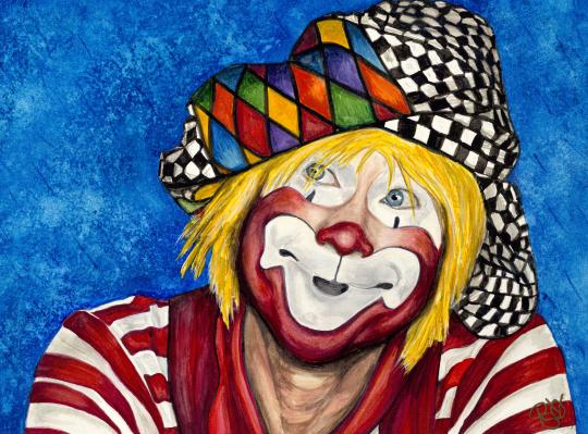 Watercolor Clown #16 Ron Maslanka AKA Same the Clown9 X 12 on Canson  140 lb Cold pressed paper Original Pending Sale