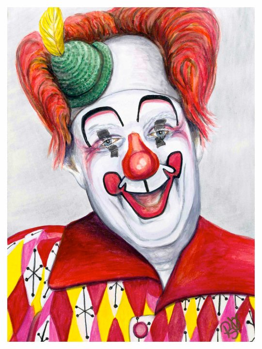 Watercolor Clown #25 Chuck Barnes 9 X 12 on Canson 140 lb Cold Press paper Original AVAILABLE $200.00 Prints Available