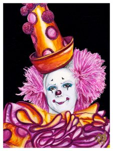 Watercolor Clown #26 Victor Ruiz 9 X 12 on Canson 140 lb Cold Press paper Original SOLD Prints Available