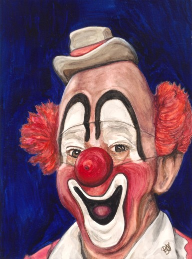 Watercolor Clown #3 Master Clown Lou Jacobs 9 X 12 on Canson Watercolor 140 lb paper Original for sale $150.00 + 6.00 shipping in USA
