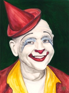 Watercolor Clown #4 Master Clown Frosty Little 9 X 12 on Canson Watercolor 140 lb paper Original Available Soon