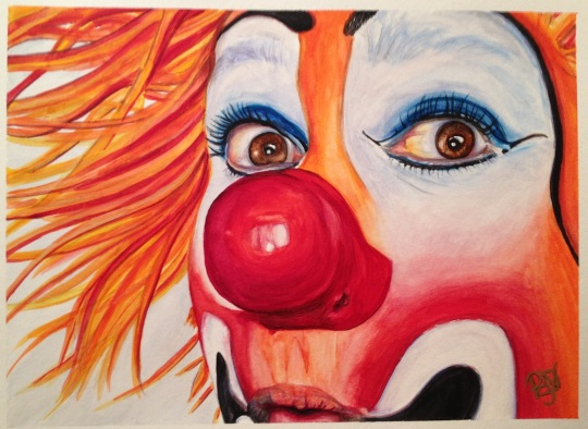 Watercolor Clown #10 Payaso Kiruz Bazo  9 X 12 Watercolor on Canson 140 lb Cold Pressed Paper