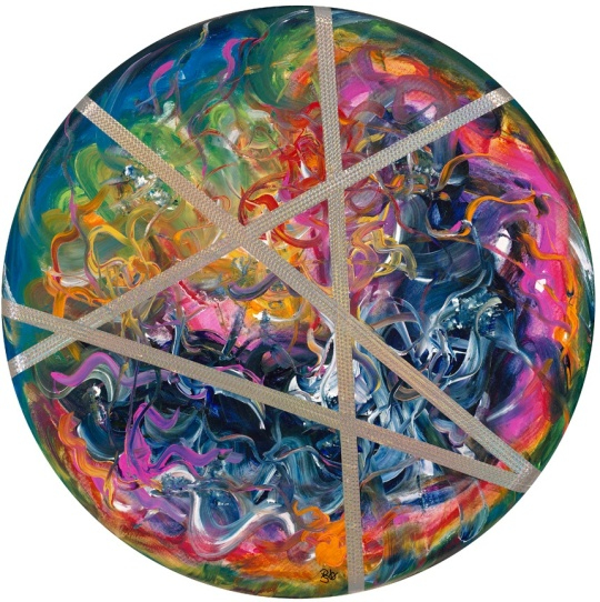 "Abstract Swirl Acrylic Muti Media painting on 36"" Round Canvas FOR SALE $2592.00 Created by Artist Patty Sue O'Hair - Vicknair"