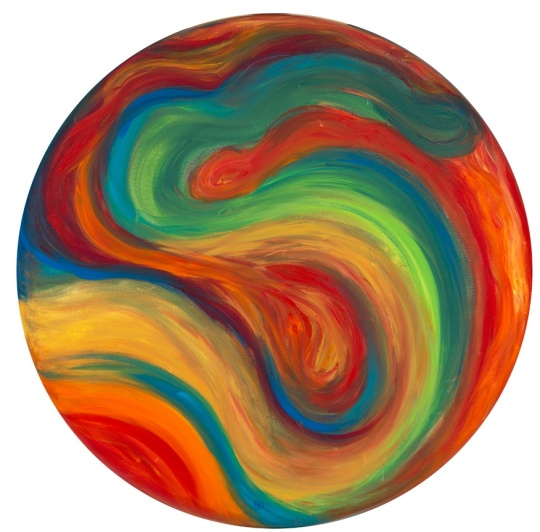 "70's influence 36"" Acrylic on Round Canvas Created by Artist Patty Sue O'Hair - Vicknair SOLD"