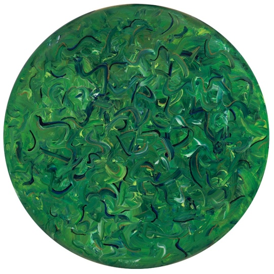 "Going Green 24"" Round Acrylic Canvas By artist Patty Sue O'Hair - Vicknair FOR SALE $1152. + Shipping"