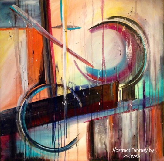Abstract Fantasy by Patty Sue O'Hair - Vicknair Artist Acrylic Original 40 X 40 X 1.5 FOR SALE $2080.00 + Shipping.