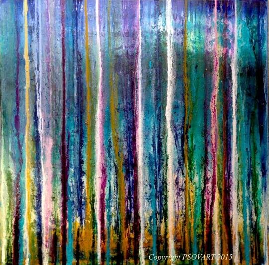 Forest Rain Abstract by Patty Sue O'Hair – Vicknair 30 X 30 X 1.5 FOR SALE $1800.00 + shipping.