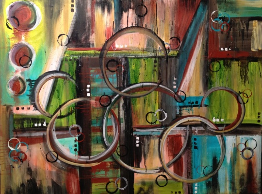 Interwoven Original Acrylic Abstract by Patty Sue O'Hair - Vicknair 36 X 48 FOR SALE $2250.00 + shipping.