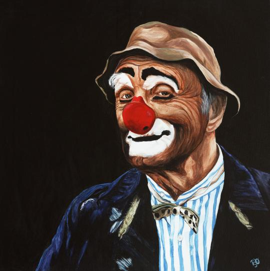 Señor Billy the Hobo Clown 36  x36 X 1 Acrylic on Canvas Original FOR SALE $1684.