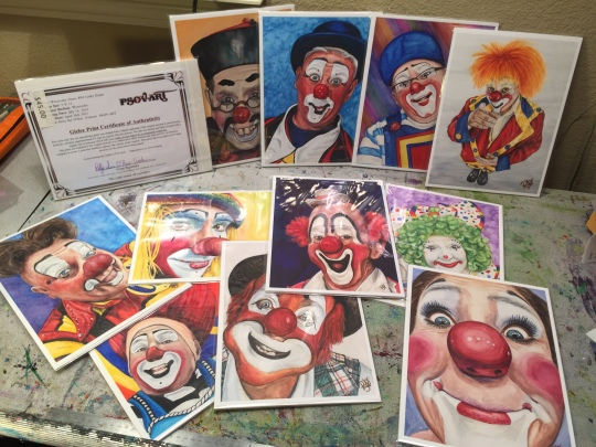 Example of some of my Clown Paintings as Giclee Prints on Fine Art Paper